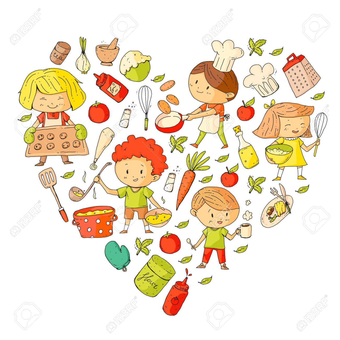 Crianças Fofos Cozinhar Alimentos Crianças Do Jardim De Infância E Da Escola Crianças De Desenho Aula De Culinária Café E Restaurante Para