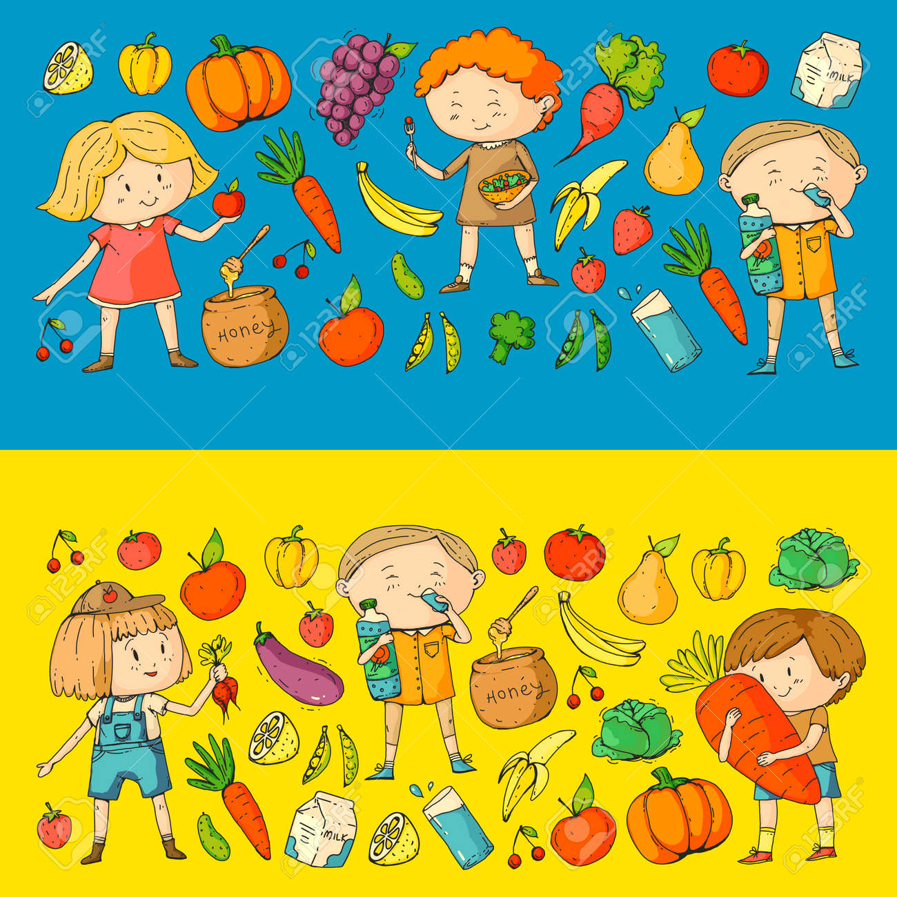 Children School And Kindergarten Healthy Food And Drinks Kids Royalty Free Cliparts Vectors And Stock Illustration Image 94691940