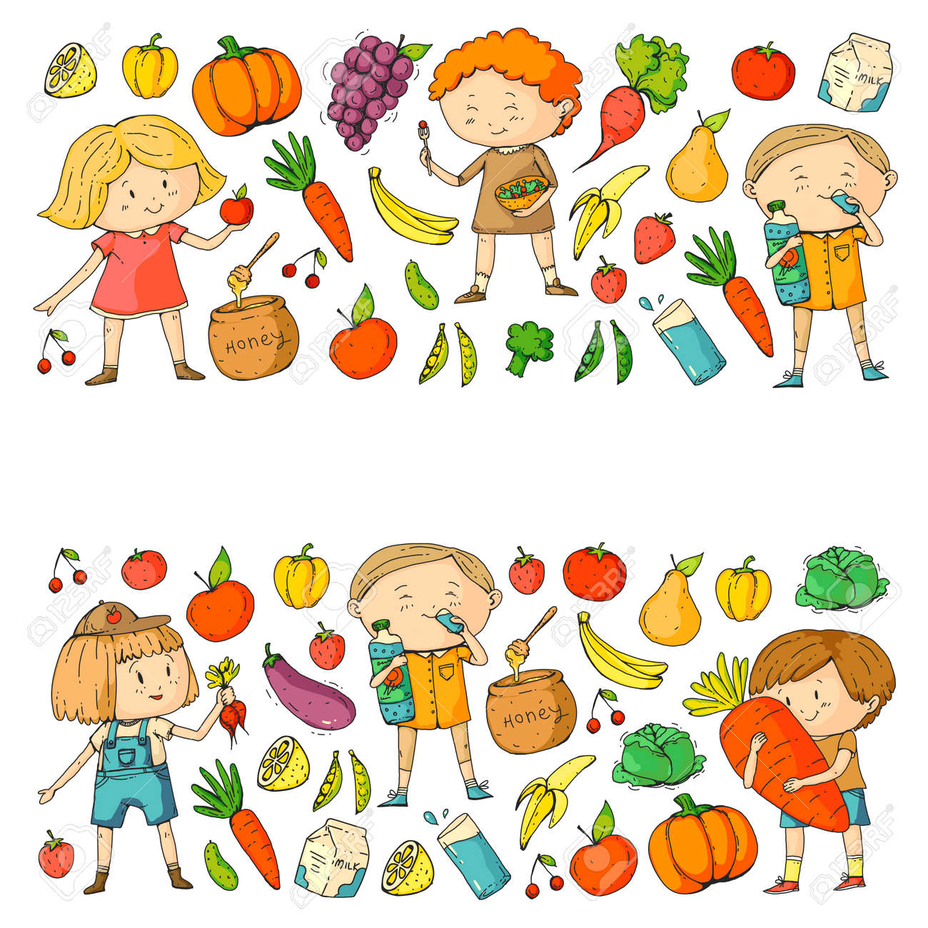 Children School And Kindergarten Healthy Food And Drinks Kids Royalty Free Cliparts Vectors And Stock Illustration Image 94671608