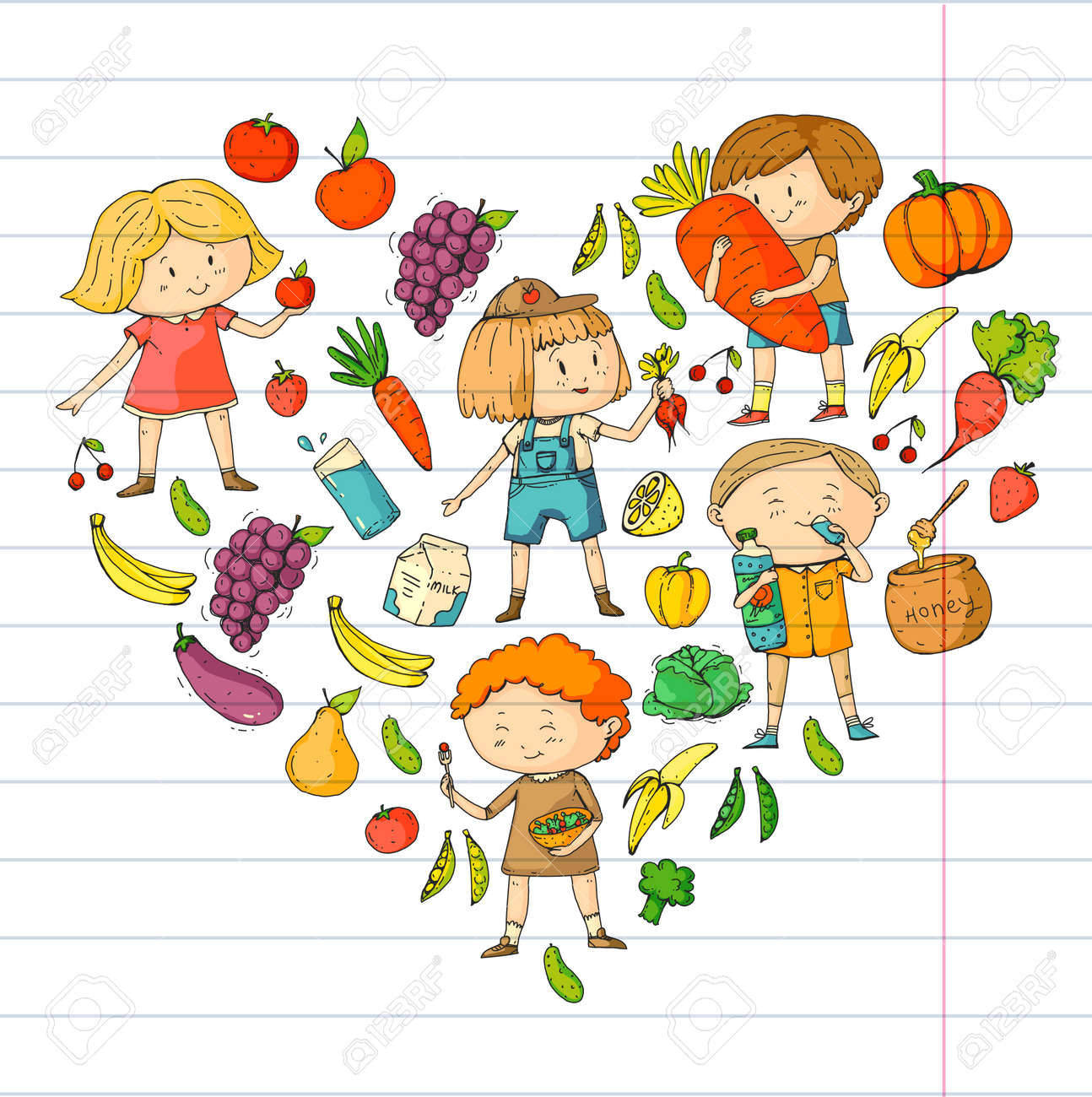 Children School And Kindergarten Healthy Food And Drinks Kids Royalty Free Cliparts Vectors And Stock Illustration Image 94782007