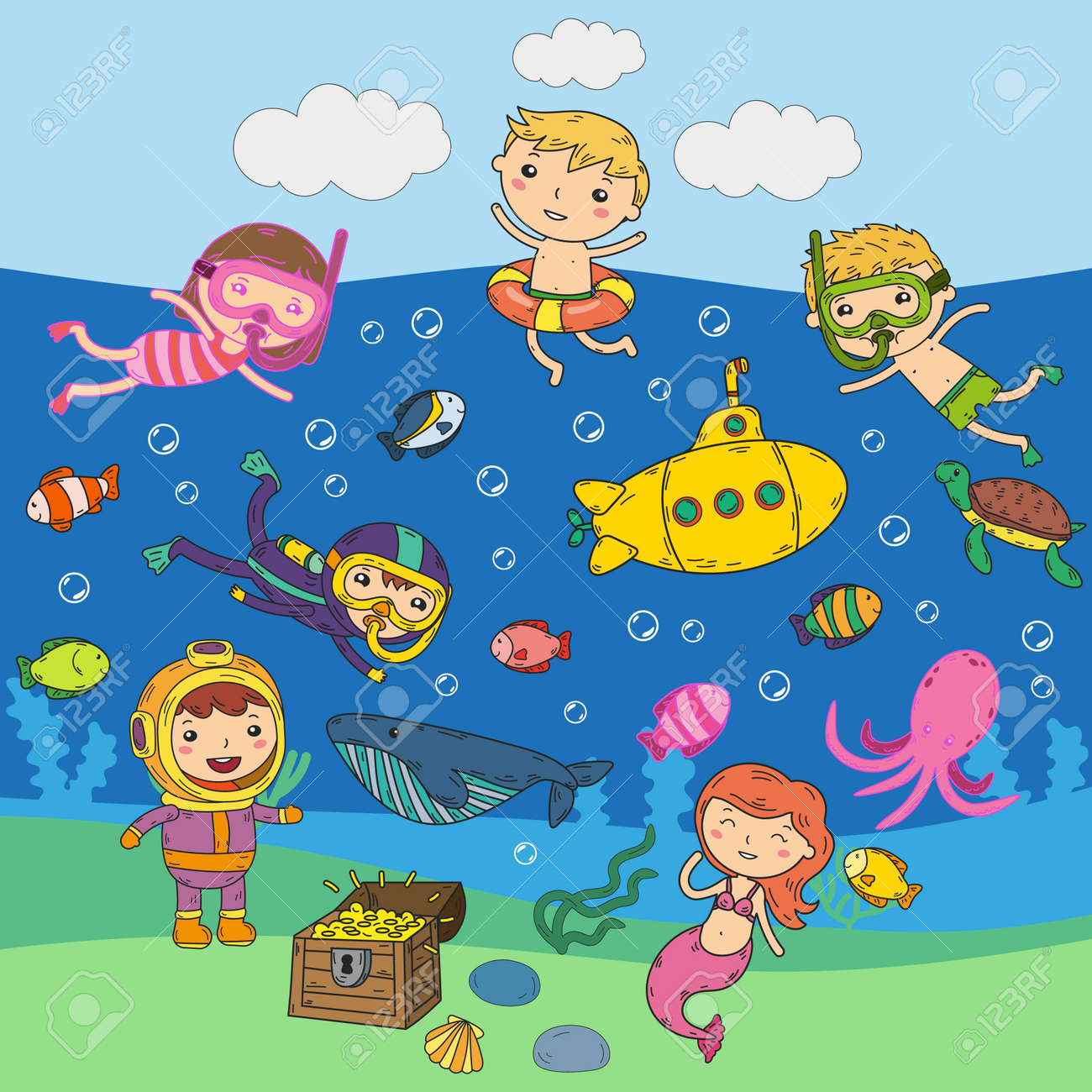 Underwater. Kids waterpark. Sea and ocean adventure. Summertime. Kids drawing. Doodle images. Cartoon creatures with children. Boys and girls swimming - 96053989