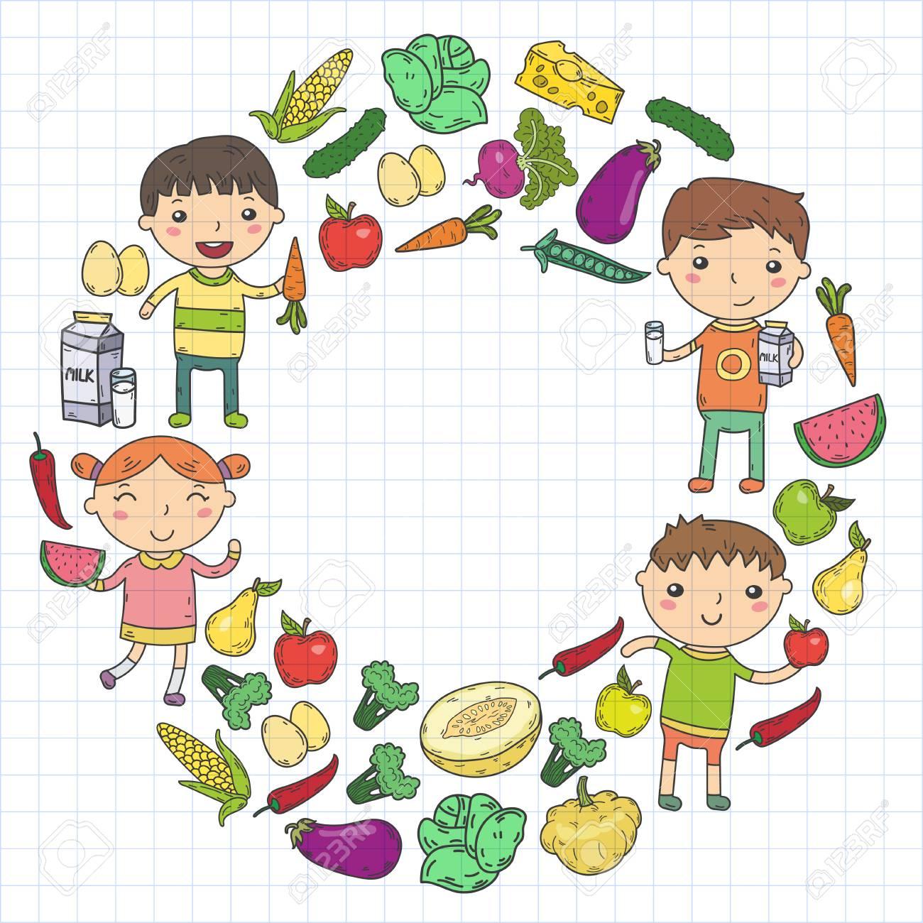 Healthy Food In Circle With Kindergarten Kids Vector Illustration