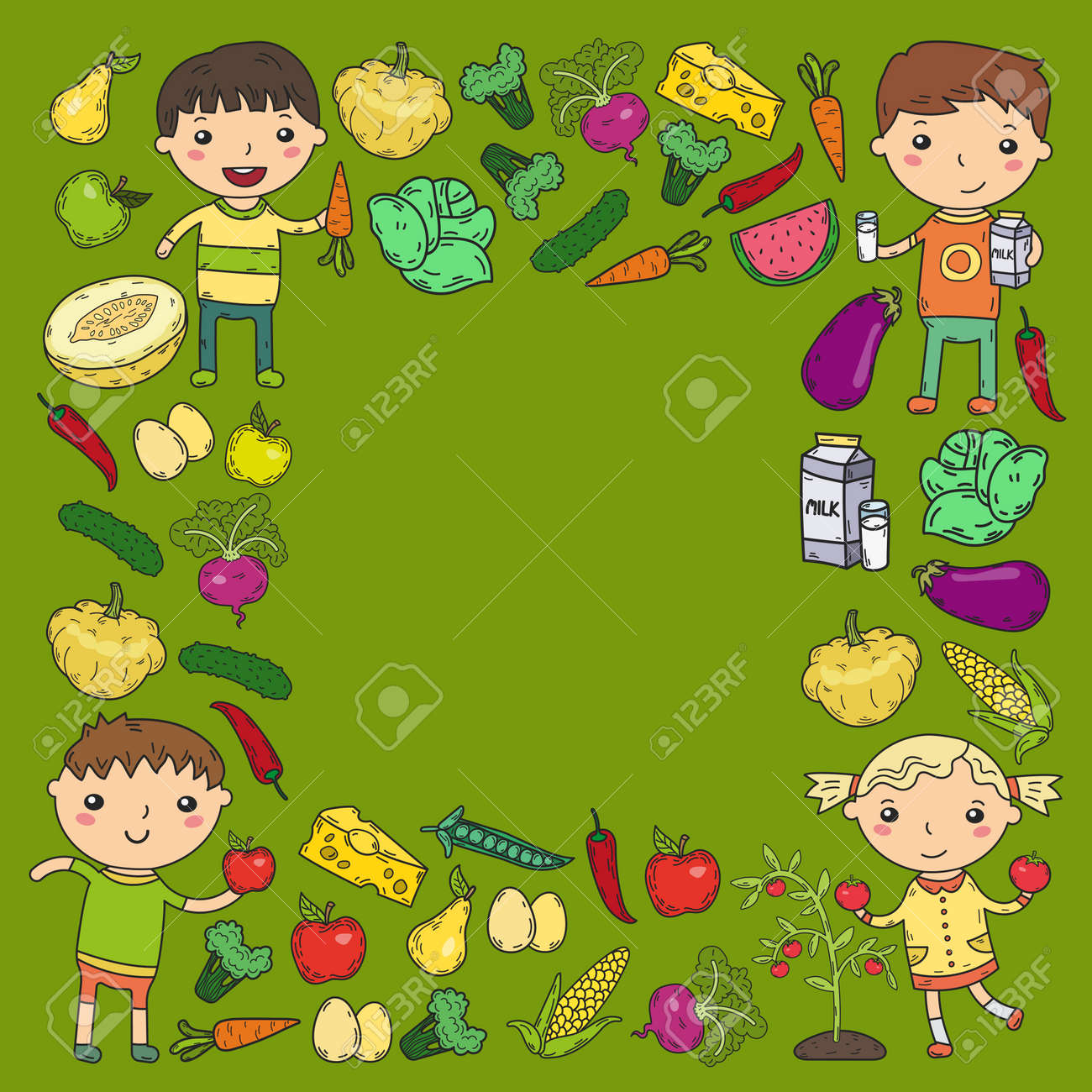Kids Eating Healthy Food Clipart A Kindergarten Nursery Preschool School Kids Eat Healthy Food
