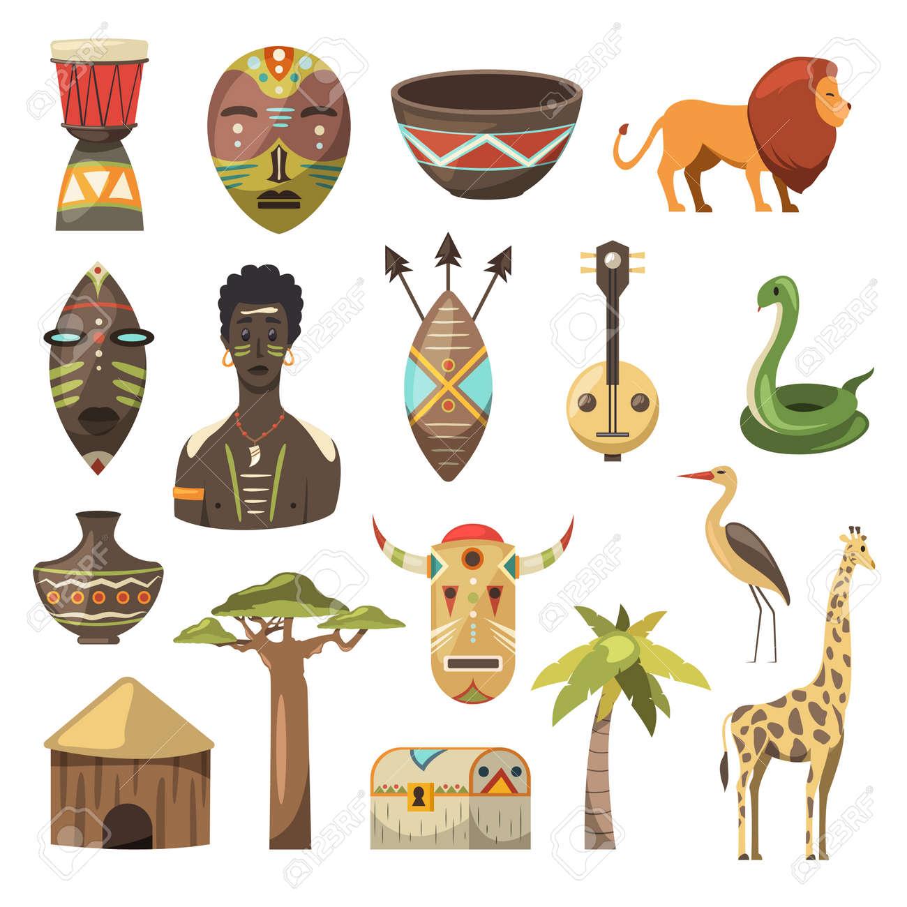 Africa. African images. Vector icons. Giraffe, mask, man, snake, vase, lion, house, palm, baobab - 97041843