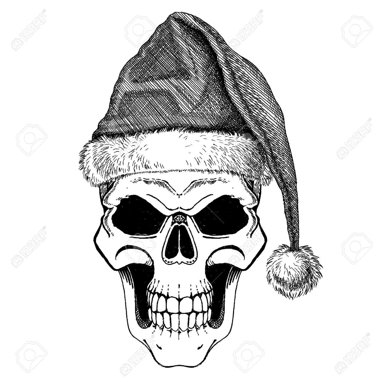 Heavy Metal Christmas.The Skull Of Santa Claus Happy Rock Or Heavy Metal Christmas