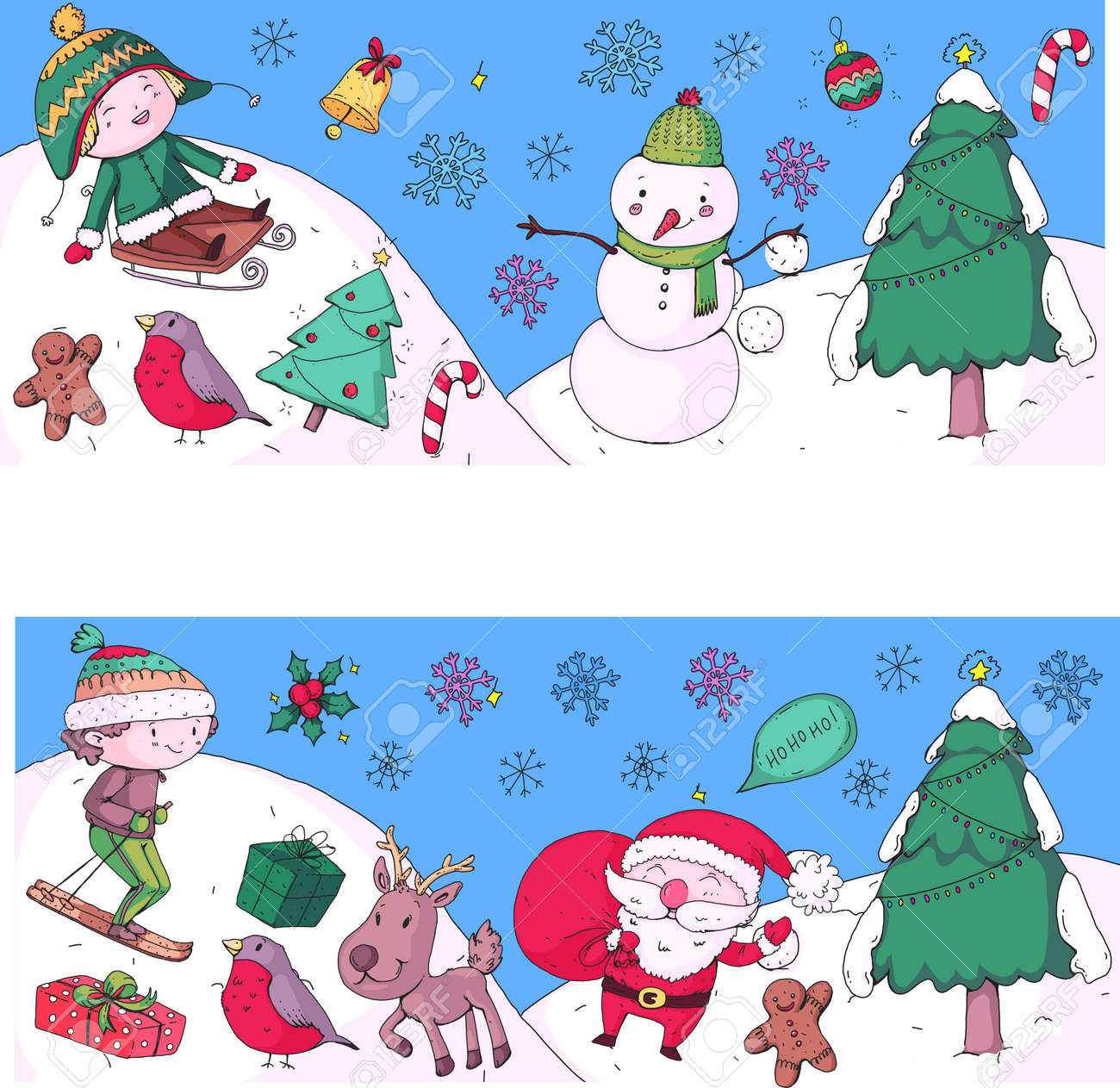 Christmas Drawing.Merry Christmas Celebration With Children Kids Drawing Illustration