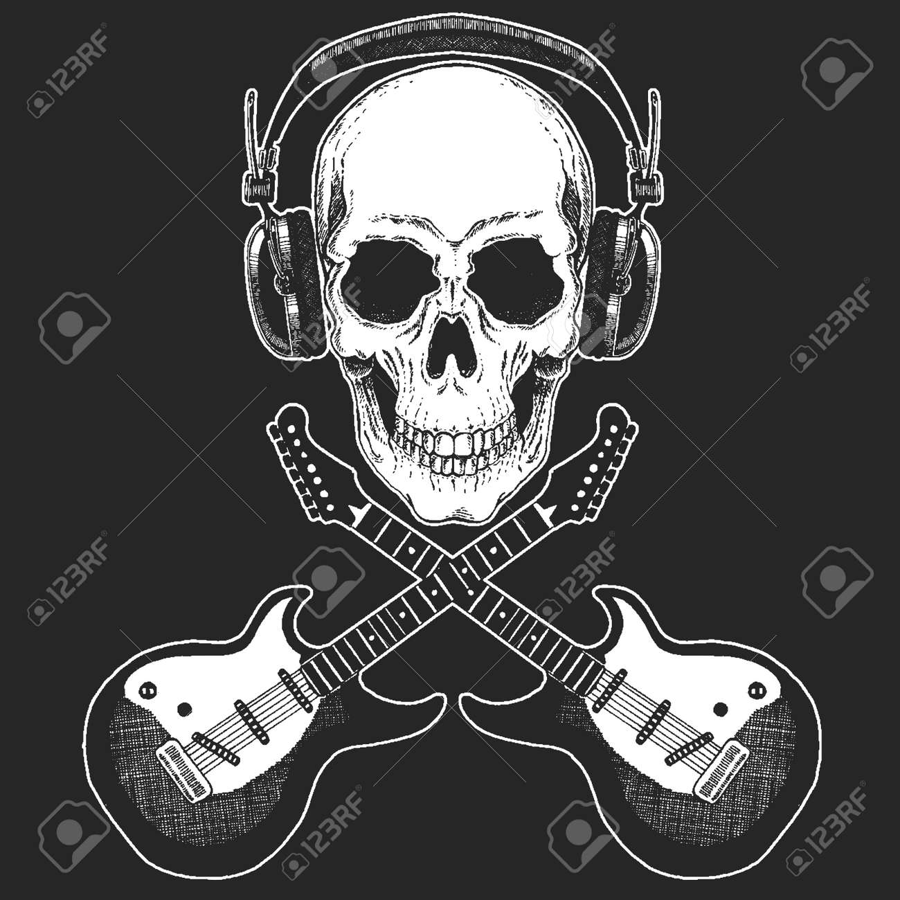 Rock music festival. Cool print for poster, banner, t-shirt. Skull wearing headphones with electric guitar. Heavy metal party. Rock-n-roll star - 99971847
