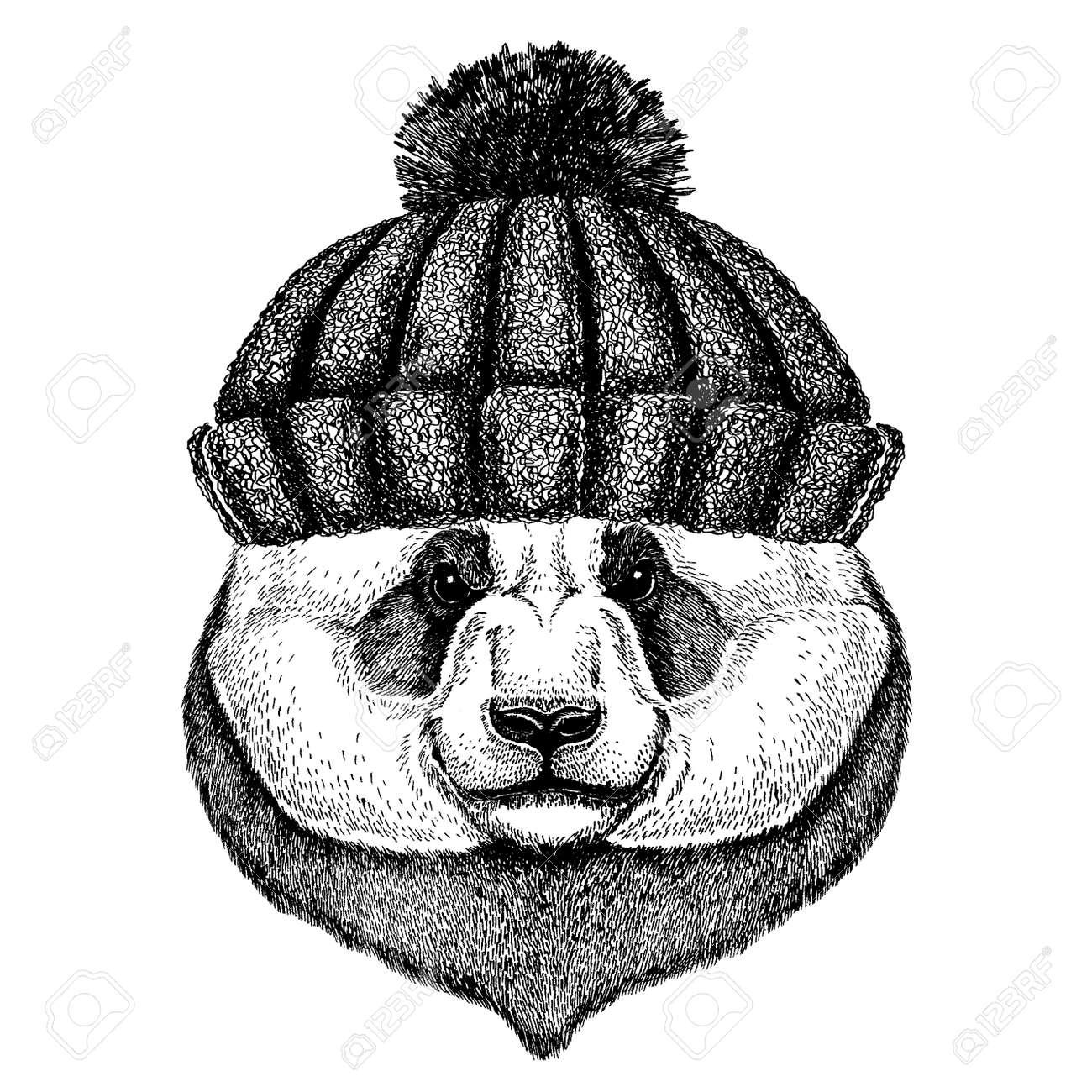 6ffa096ff Panda animal wearing knitted winter hat. Warm headdress beanie..