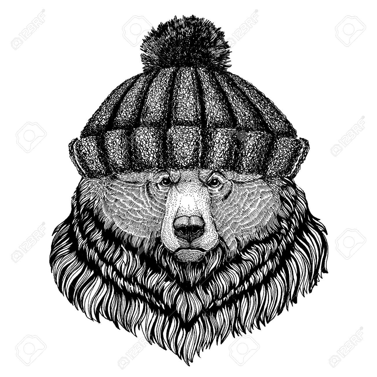 1e1ca55f168 Grizzly bear Big wild bear Cool animal wearing knitted winter hat. Warm  headdress beanie Christmas