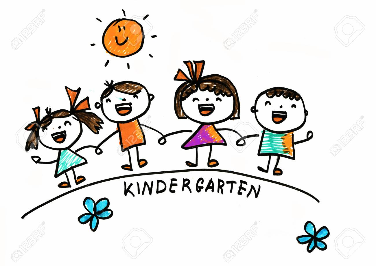Kids drawing style kindergarten children with sun summer camp for boys and girls