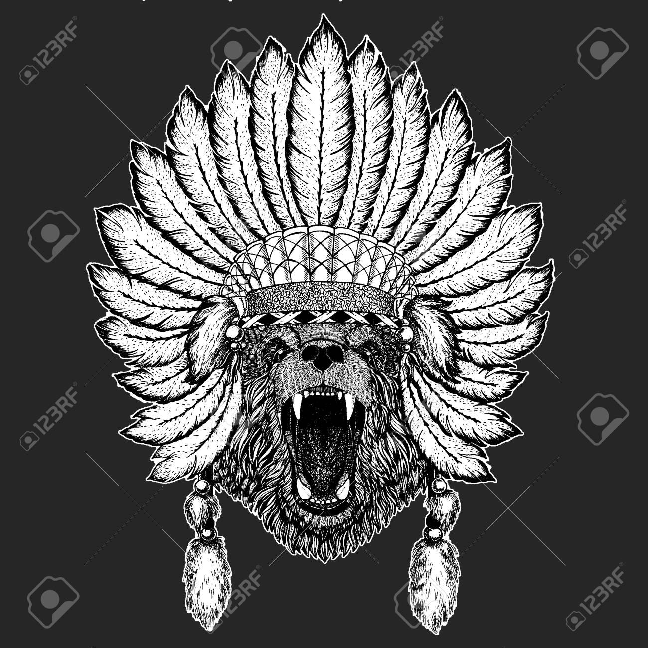 c8bcdbb7662cc Bear Traditional ethnic indian boho headdress Tribal shaman hat Ceremonial  element Stock Vector - 103667002