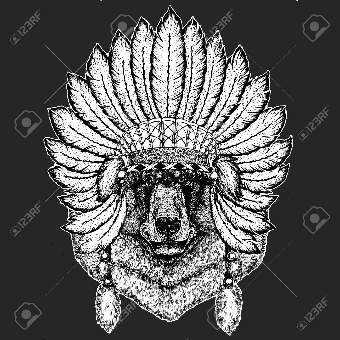 a09fe77f85b8c Black bear Traditional ethnic indian boho headdress Tribal shaman hat  Ceremonial element Stock Vector - 103666997