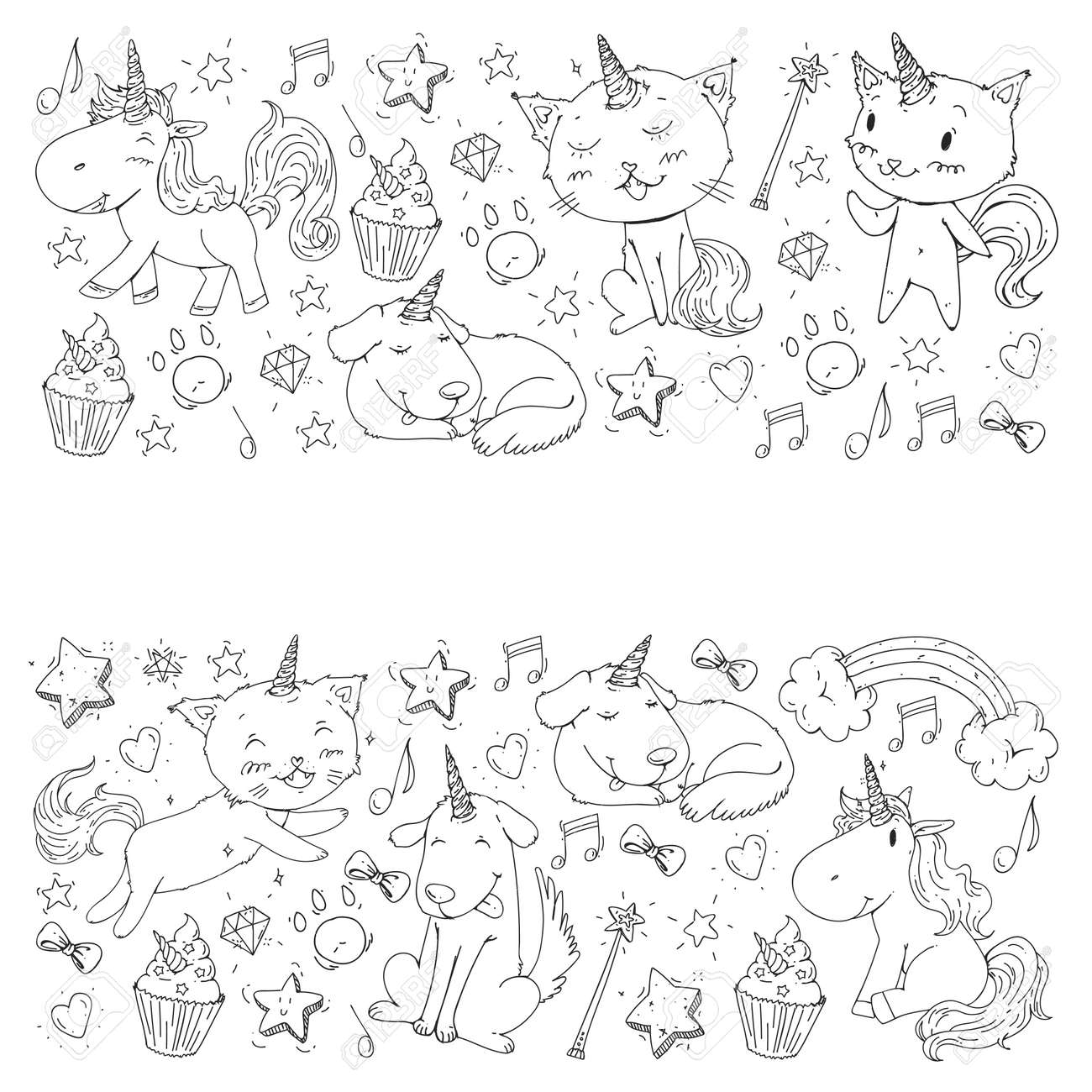 Unicorn. Cats, dog, horse, pony. Coloring page for children...