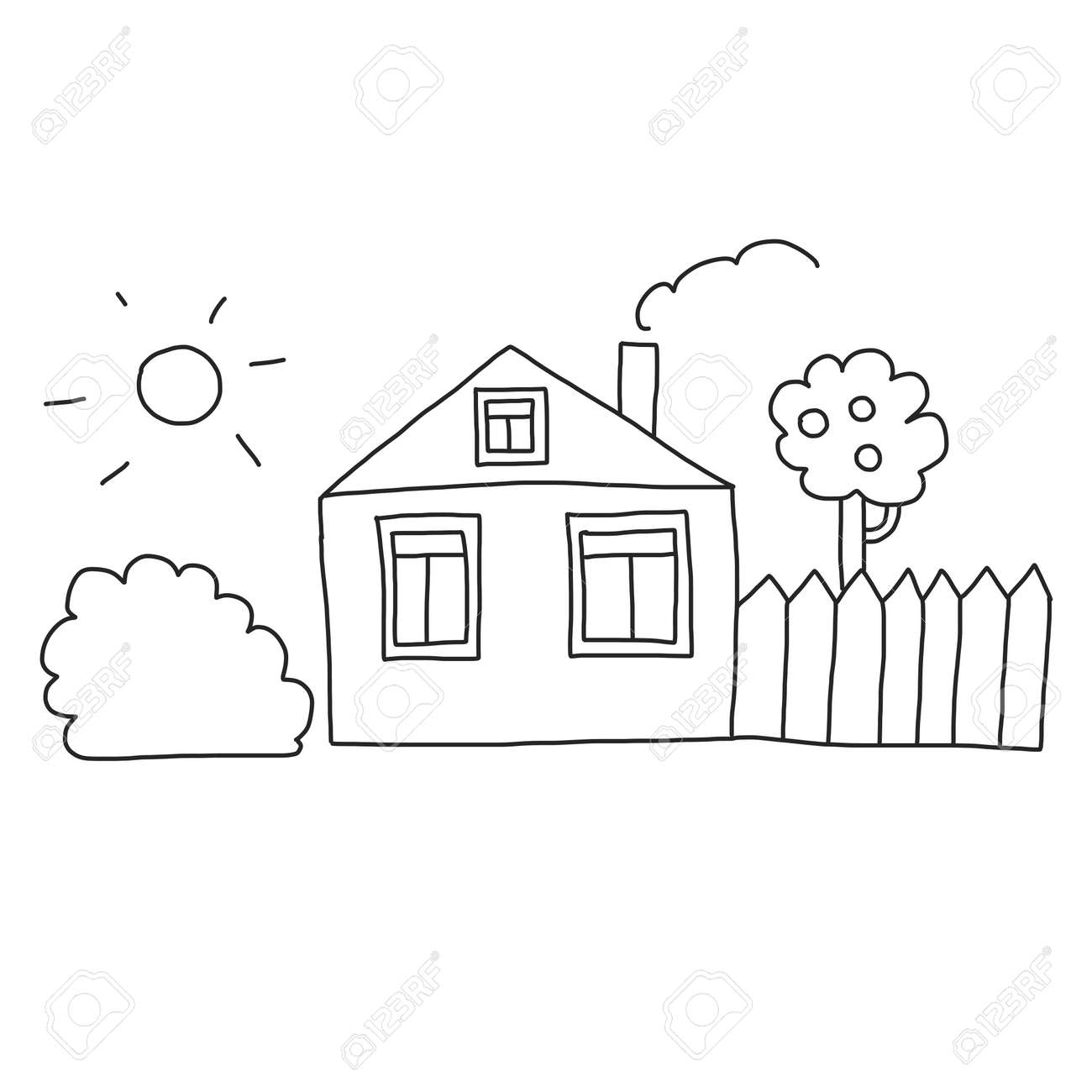 Vector house Coloring page, book. Kids drawing style