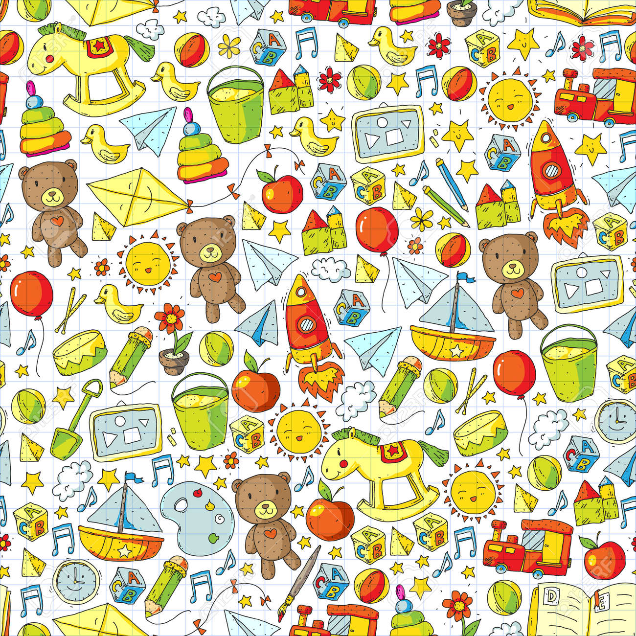 Kindergarten Vector seamless pattern with toys and items for education - 126800905