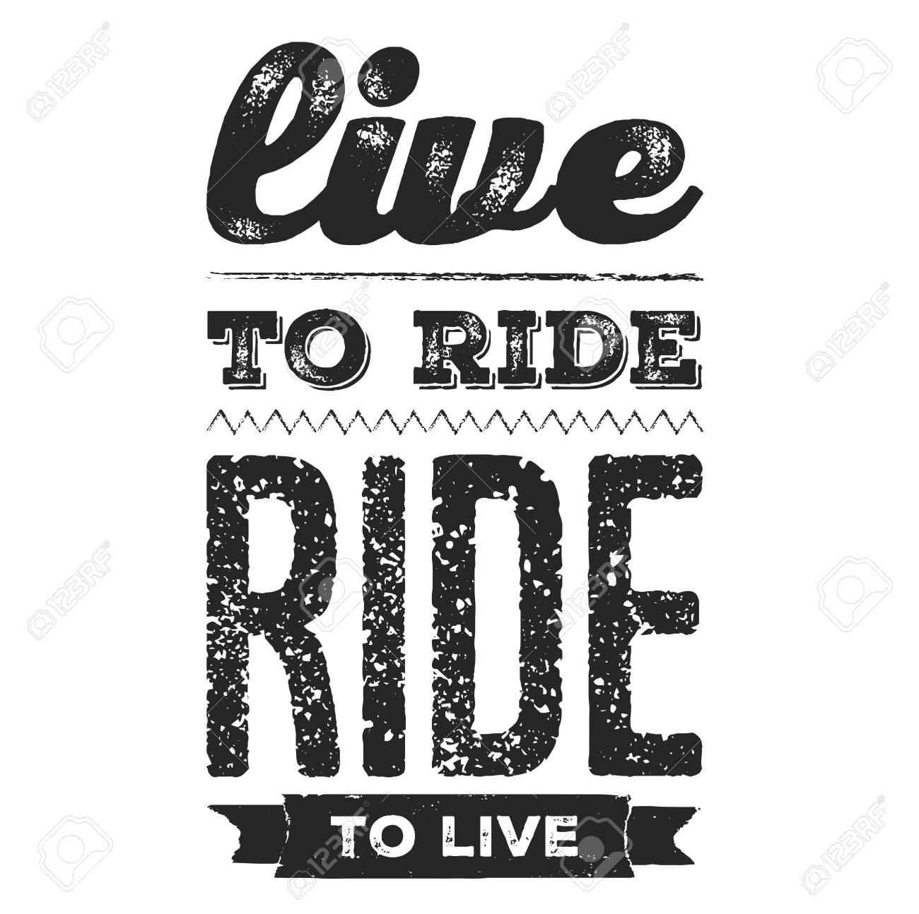 Live To Ride Cool Biker Quote For T Shirt Motorcycle Print