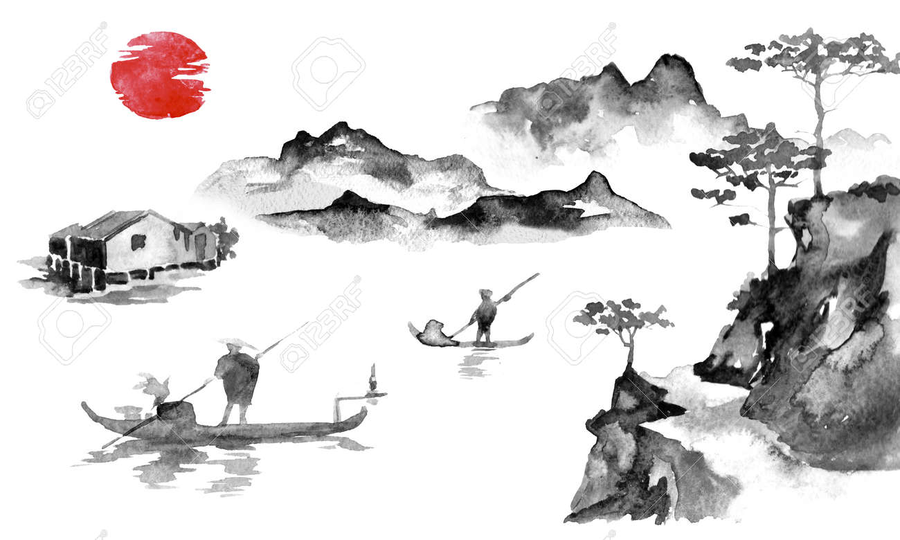 Japan traditional sumi-e painting. Indian ink illustration. Man and boat. Sunset, dusk. Japanese picture. - 117924817