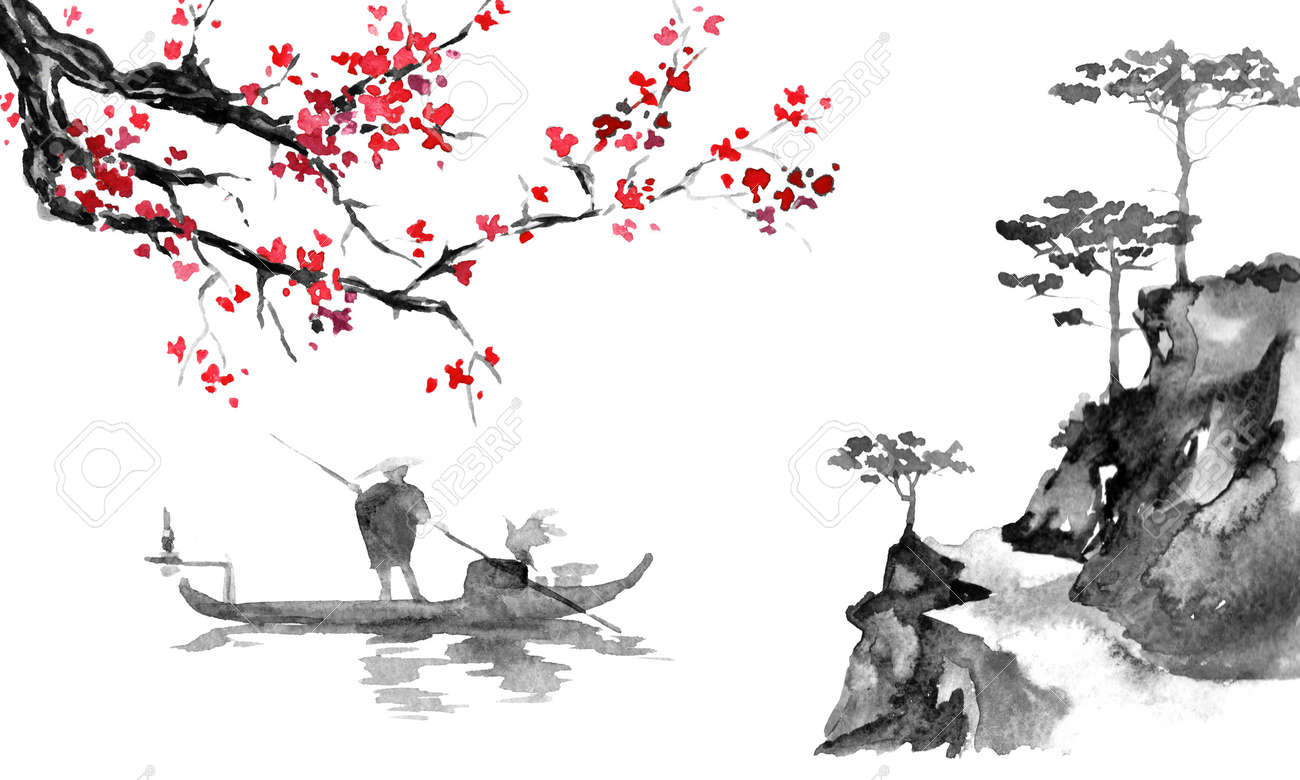 Japan traditional sumi-e painting. Indian ink illustration. Man and boat. Sunset, dusk. Japanese picture. - 117924980