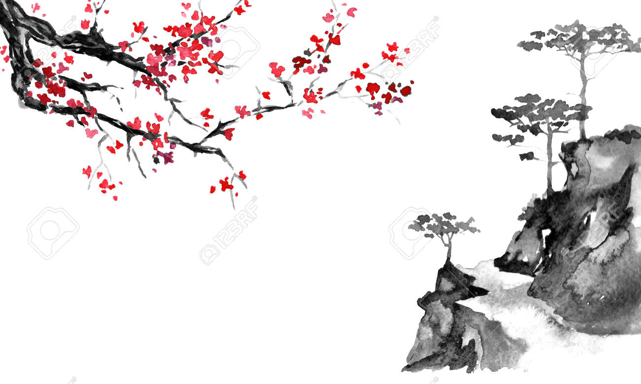 Japan traditional sumi-e painting. Indian ink illustration. Japanese picture. Sakura and mountains - 117924981