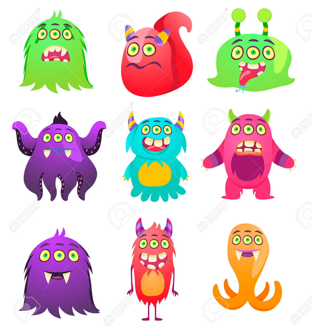 Cute Monsters Cartoon Aliens From Space For Kindergarten Children Royalty Free Cliparts Vectors And Stock Illustration Image 118917964