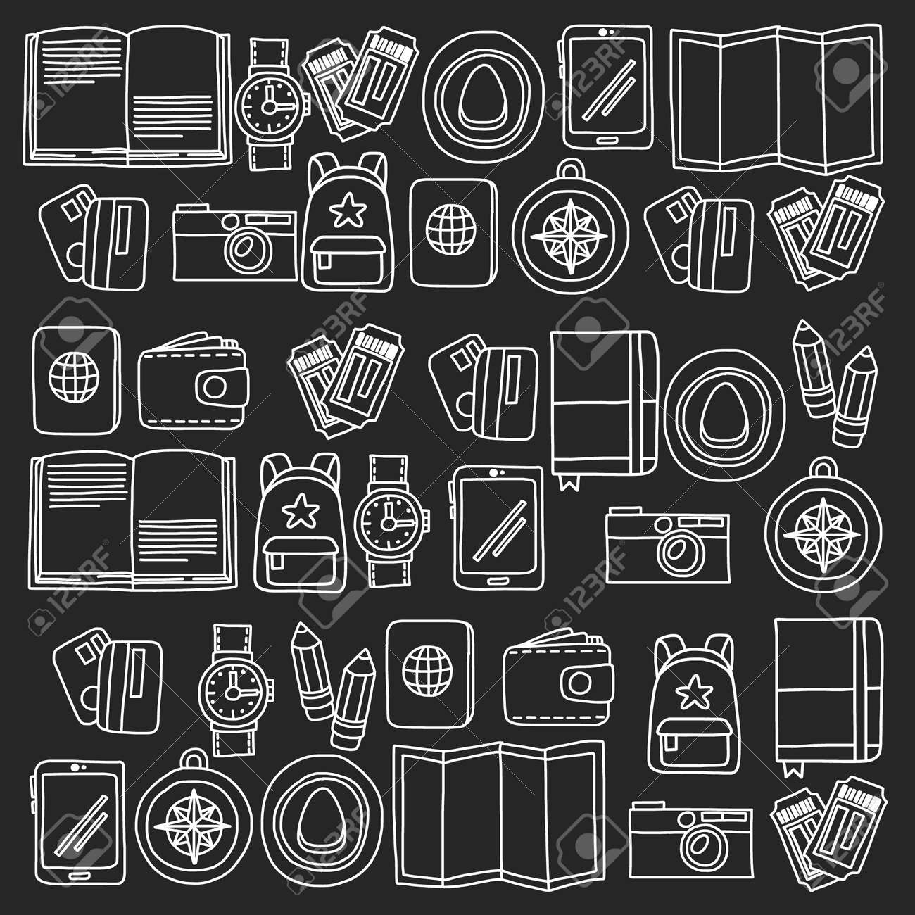 Vector pattern with travel icons. Get ready for adventures and travel. Hot air balloon, suitcase, airplane. Great vacation, holidays. - 120708786