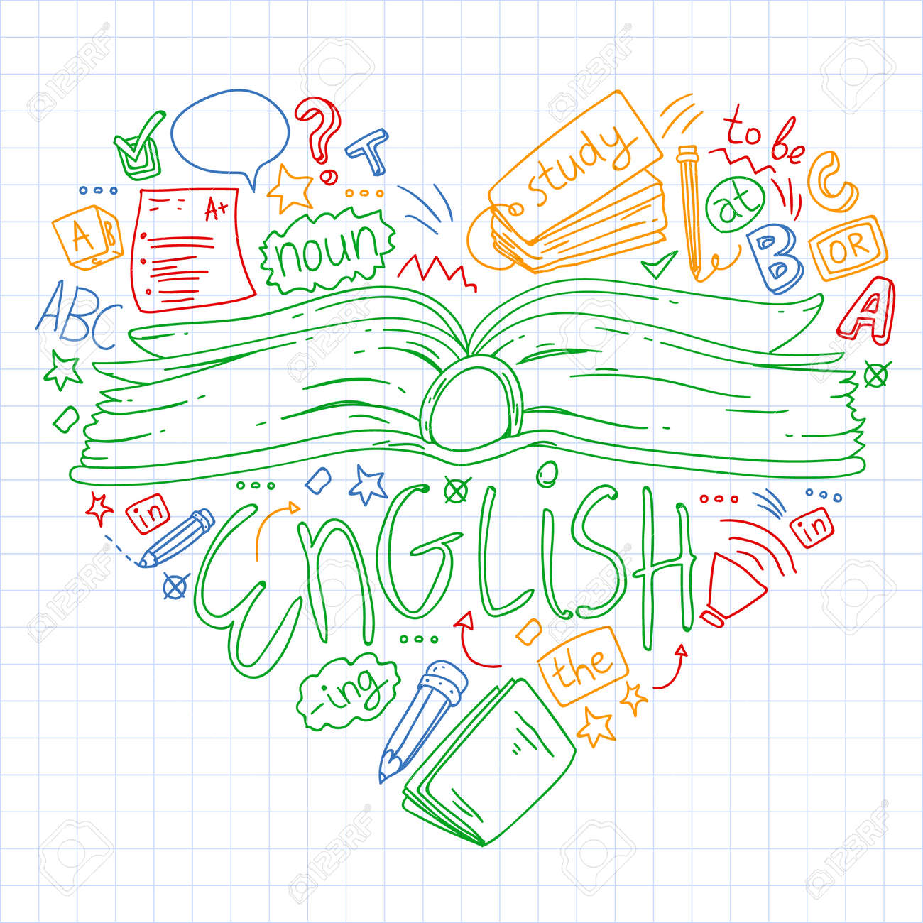Language school for adult, kids. English courses class - 122727564