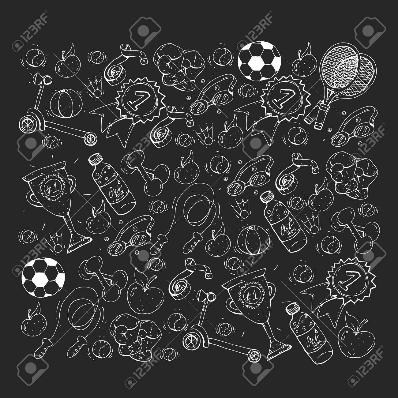 Vector pattern with sport elements  Fitness, games, exercises