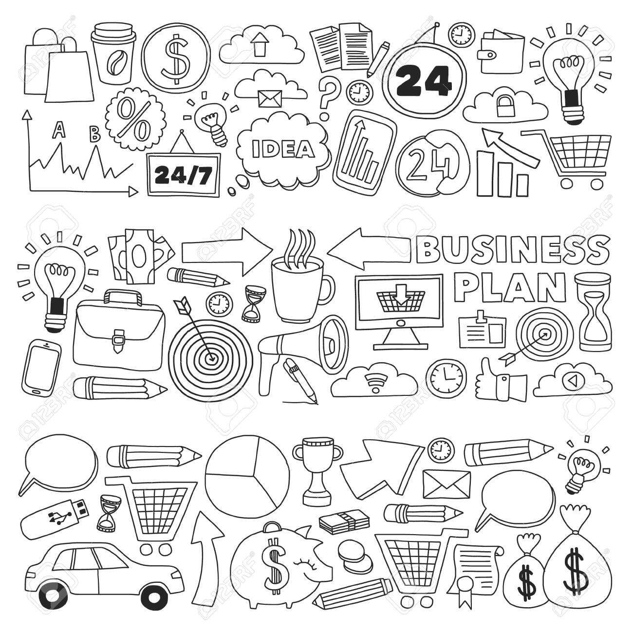 Business and management background. Pattern with finance icons. Conceptual illustration of projects organization, risk, development. Team working, budget planning. - 140276989
