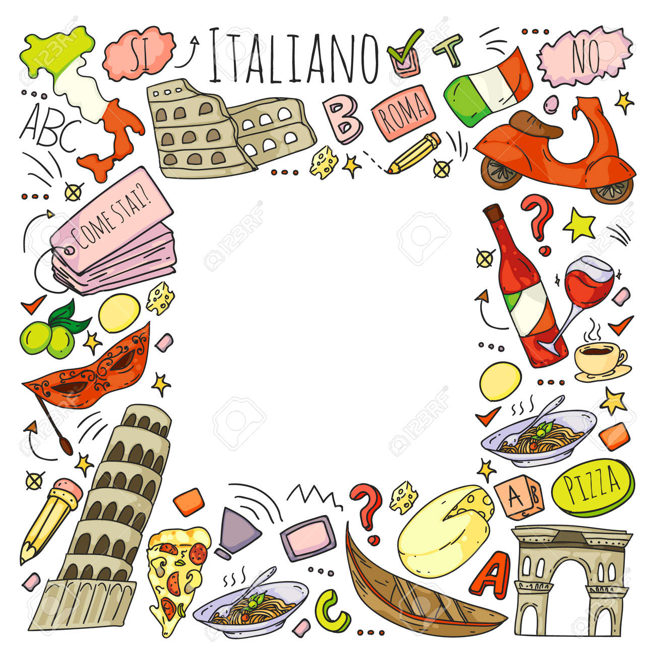 Italian language learning. Vector pattern with icons and national symbols of Italy. - 140748150