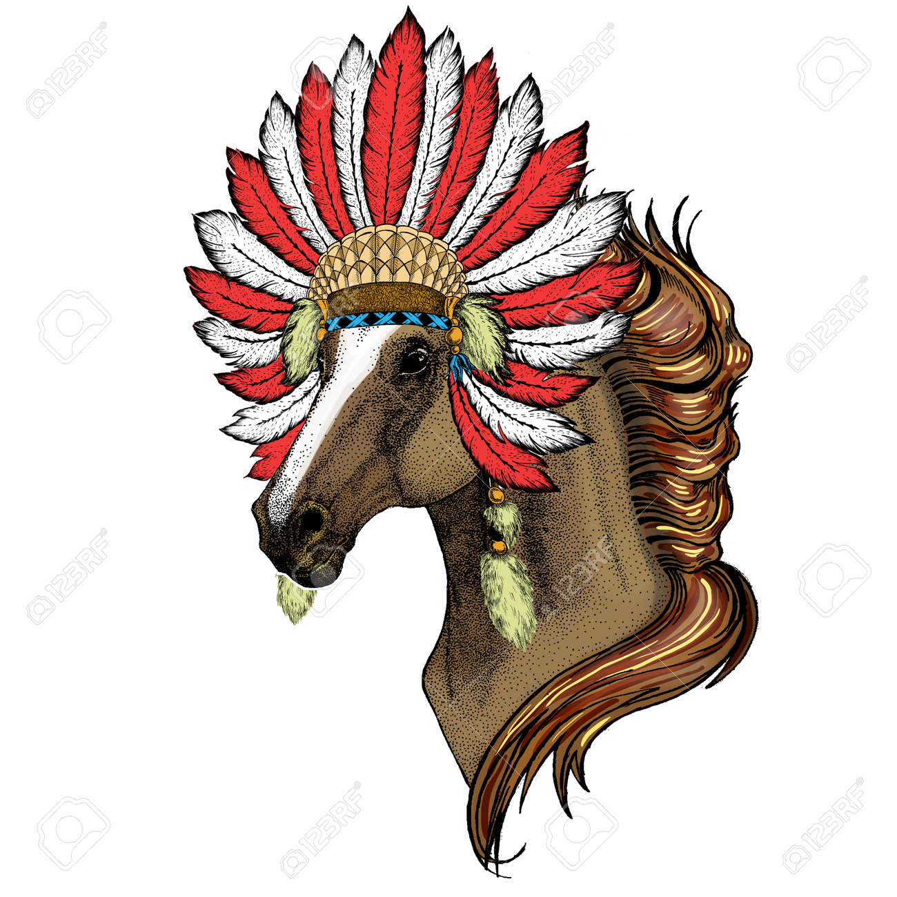 Horse Steed Courser Portrait Of Wild Animal Indian Headdress Stock Photo Picture And Royalty Free Image Image 142427052
