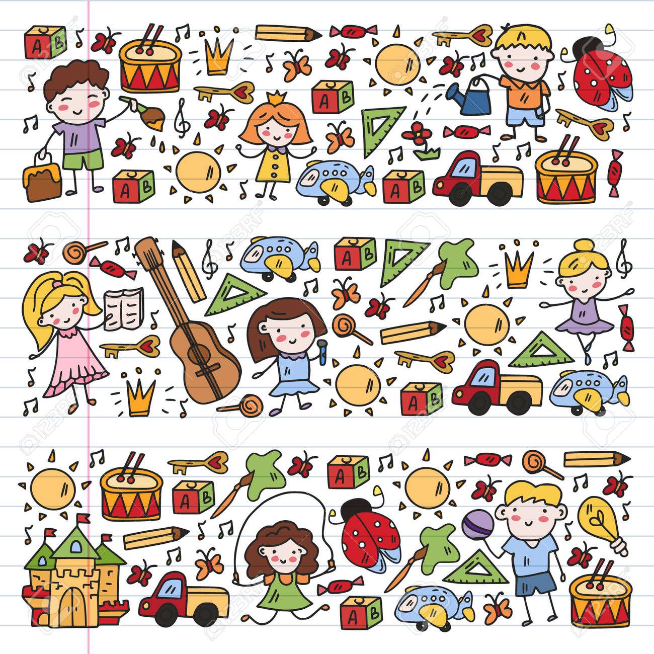 Vector pattern with little children. Kindergarten. Imagination. Creativity. Play. - 168068972