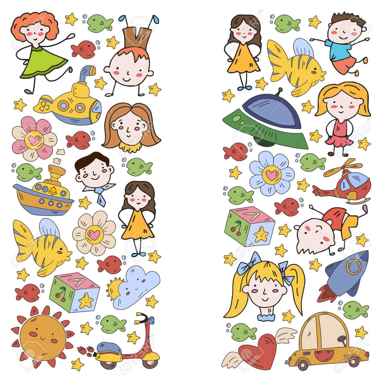 Children play with toys in the kindergarten. Kids playground. Education, creativity, imagination. - 173211516