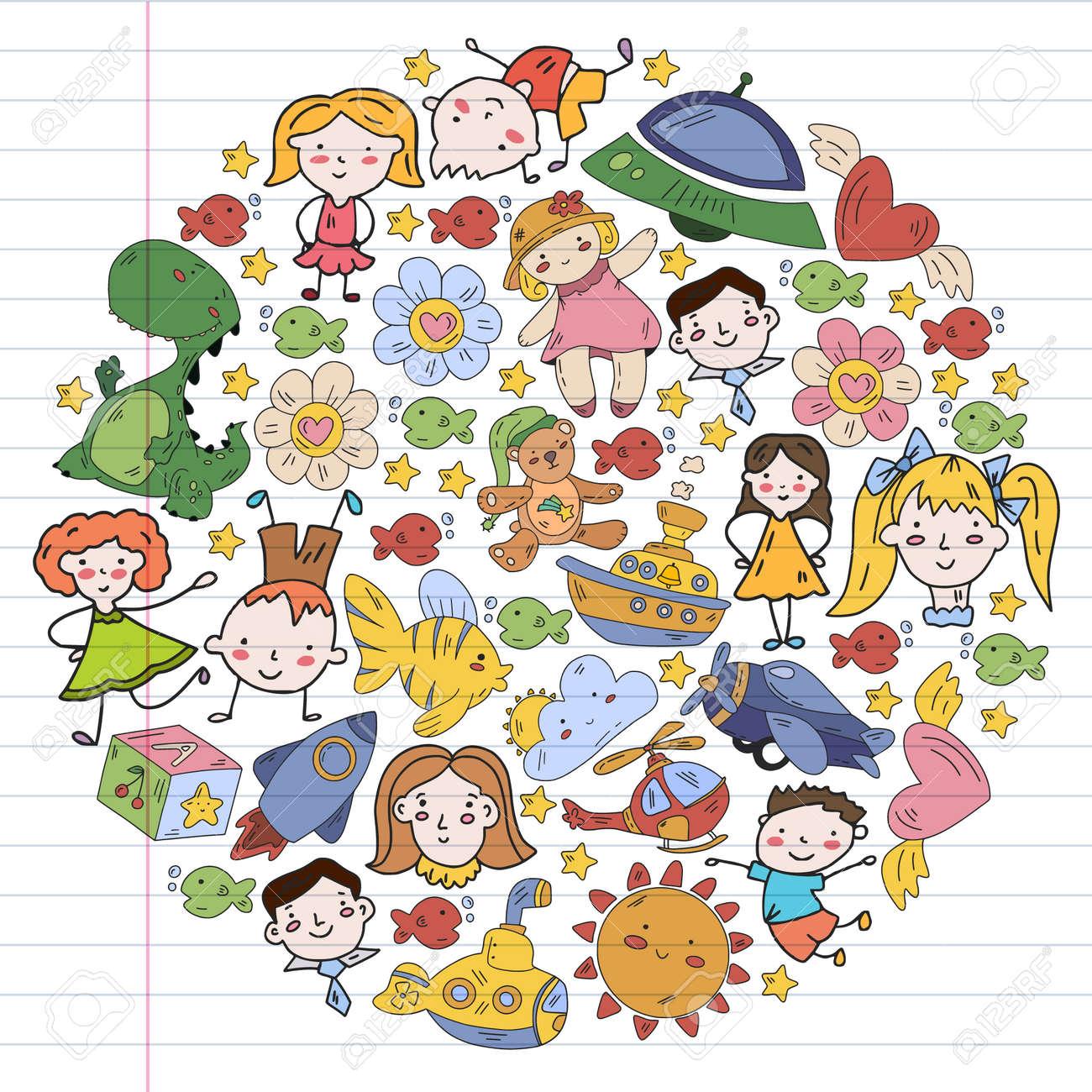 Children play with toys in the kindergarten. Kids playground. Education, creativity, imagination. - 173213226