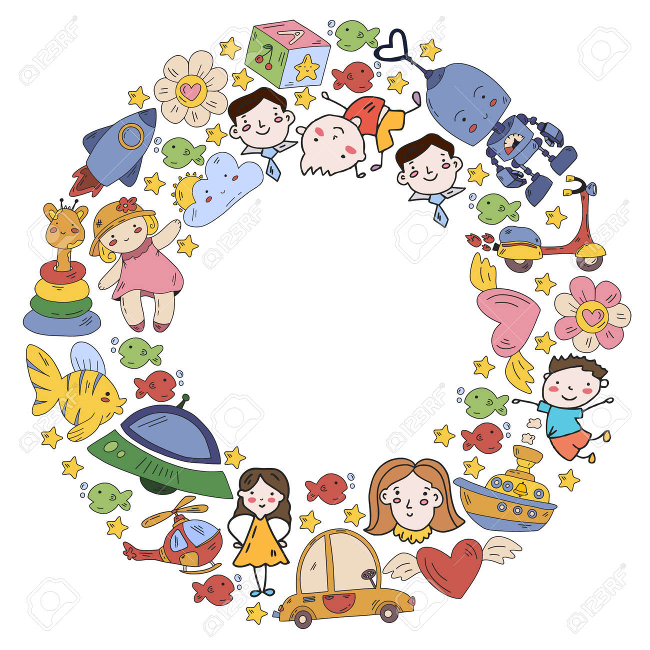 Children play with toys in the kindergarten. Kids playground. Education, creativity, imagination. - 173213211