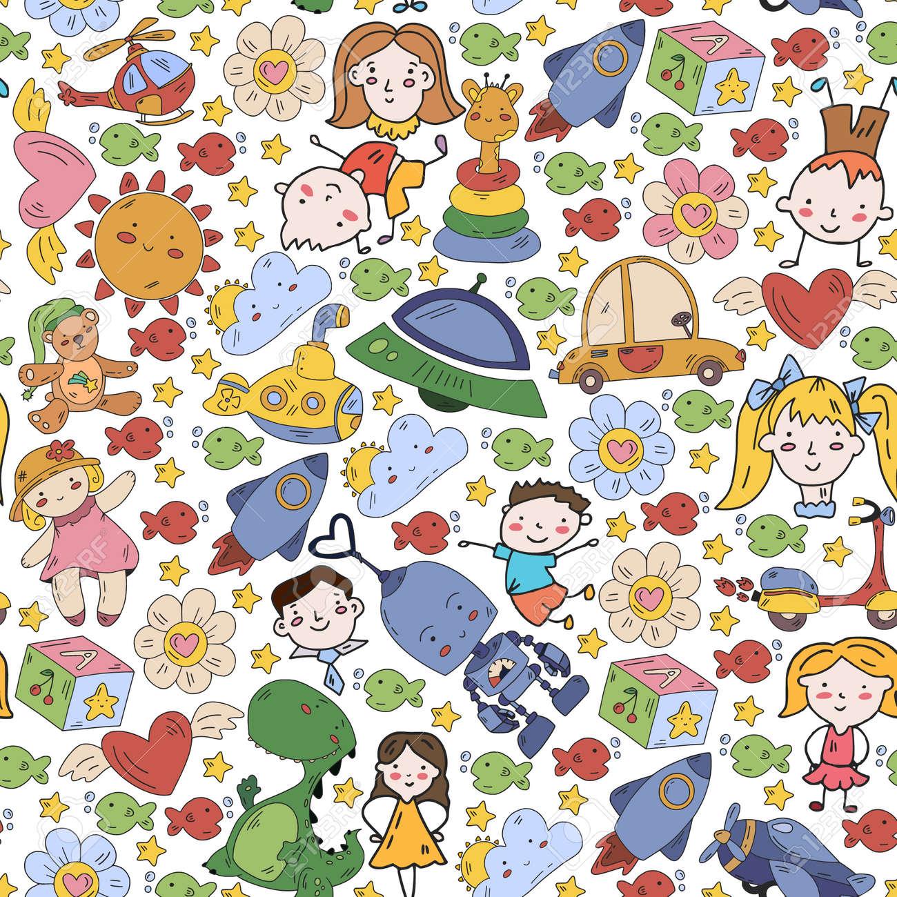 Children play with toys in the kindergarten. Kids playground. Education, creativity, imagination. - 173211554