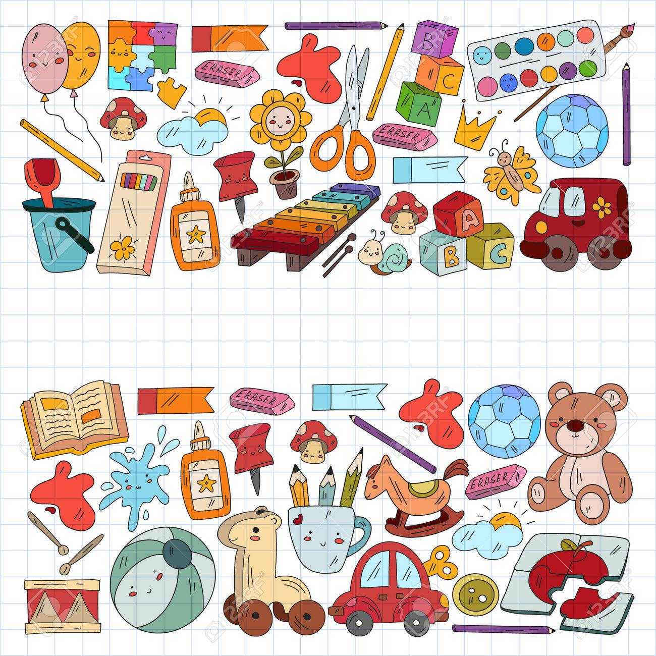 Children play with toys in the kindergarten. Kids playground. Education, creativity, imagination. - 173370078