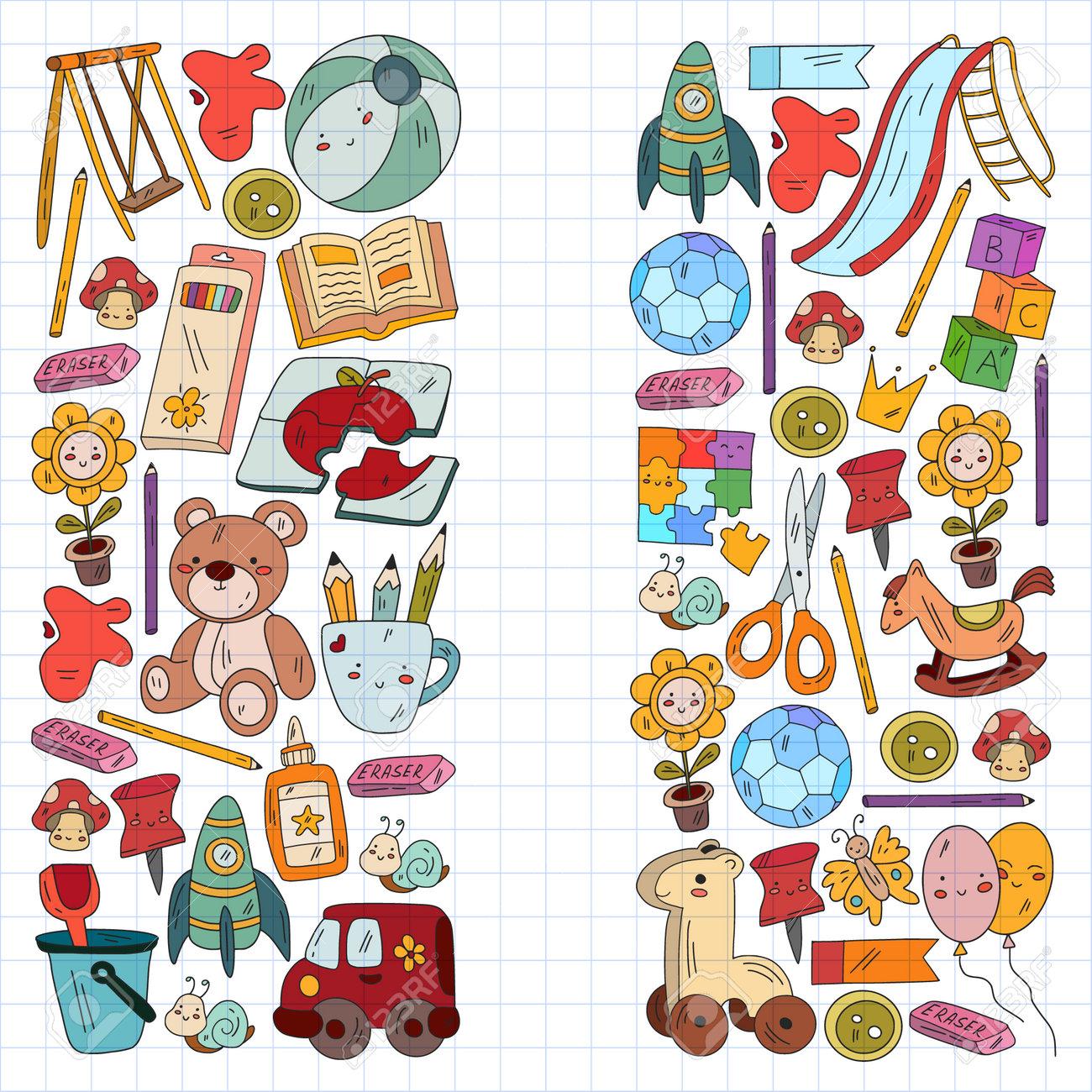 Children play with toys in the kindergarten. Kids playground. Education, creativity, imagination. - 173369609