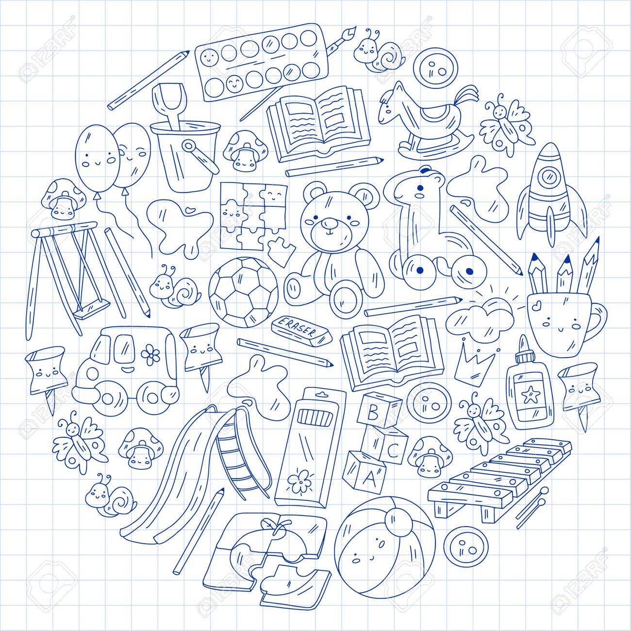Children play with toys in the kindergarten. Kids playground. Education, creativity, imagination. - 173369665