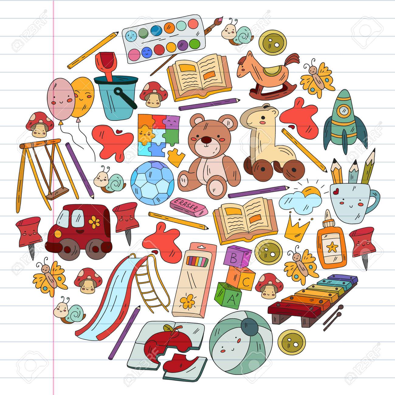 Children play with toys in the kindergarten. Kids playground. Education, creativity, imagination. - 173367377