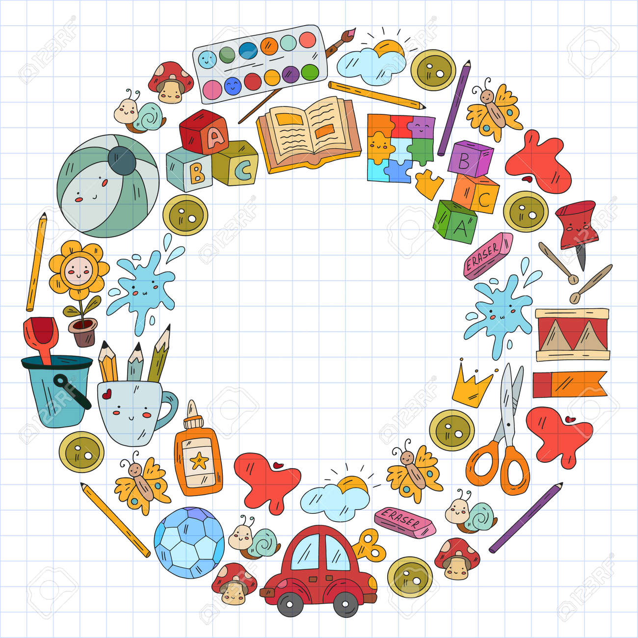 Children play with toys in the kindergarten. Kids playground. Education, creativity, imagination. - 173369567