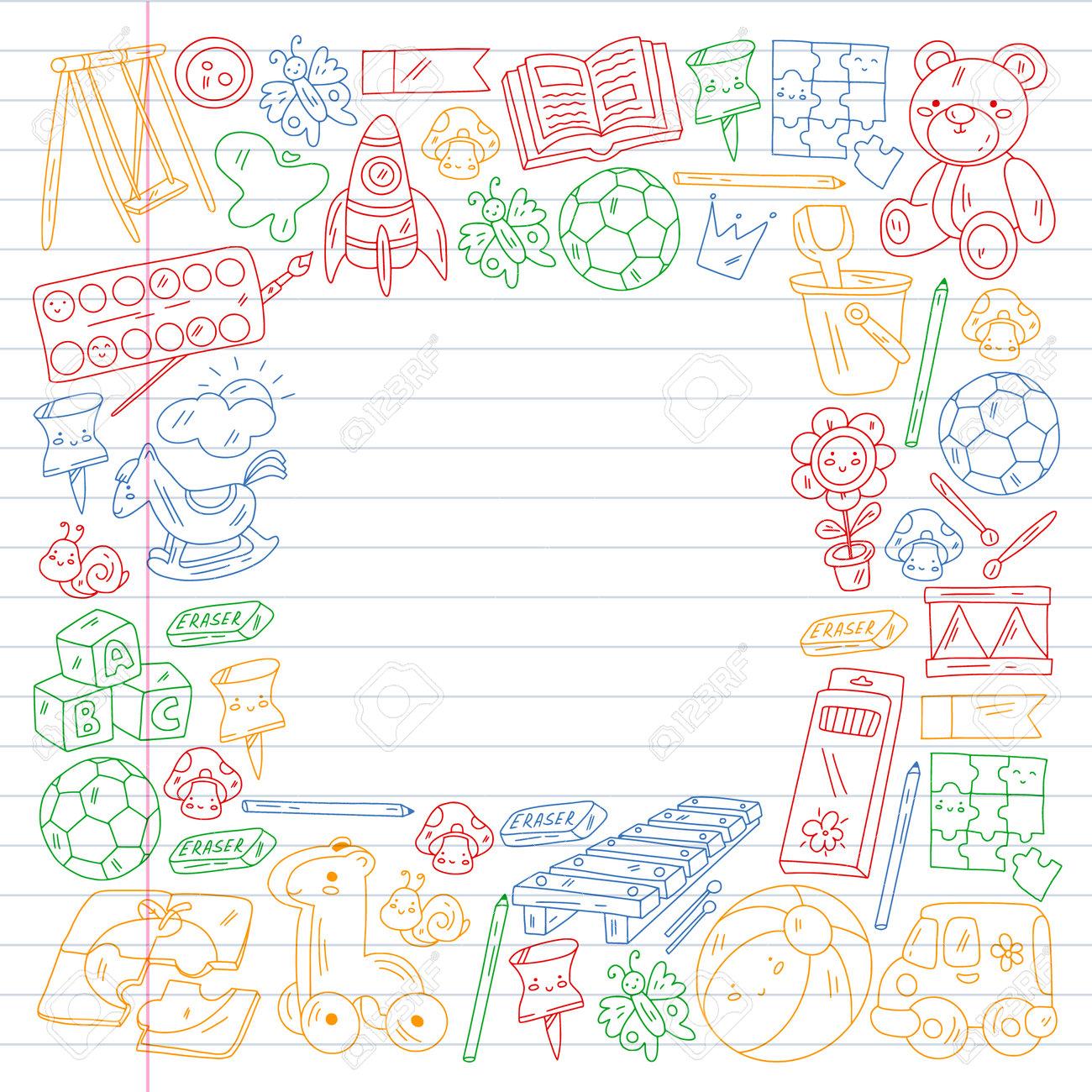 Children play with toys in the kindergarten. Kids playground. Education, creativity, imagination. - 173370340