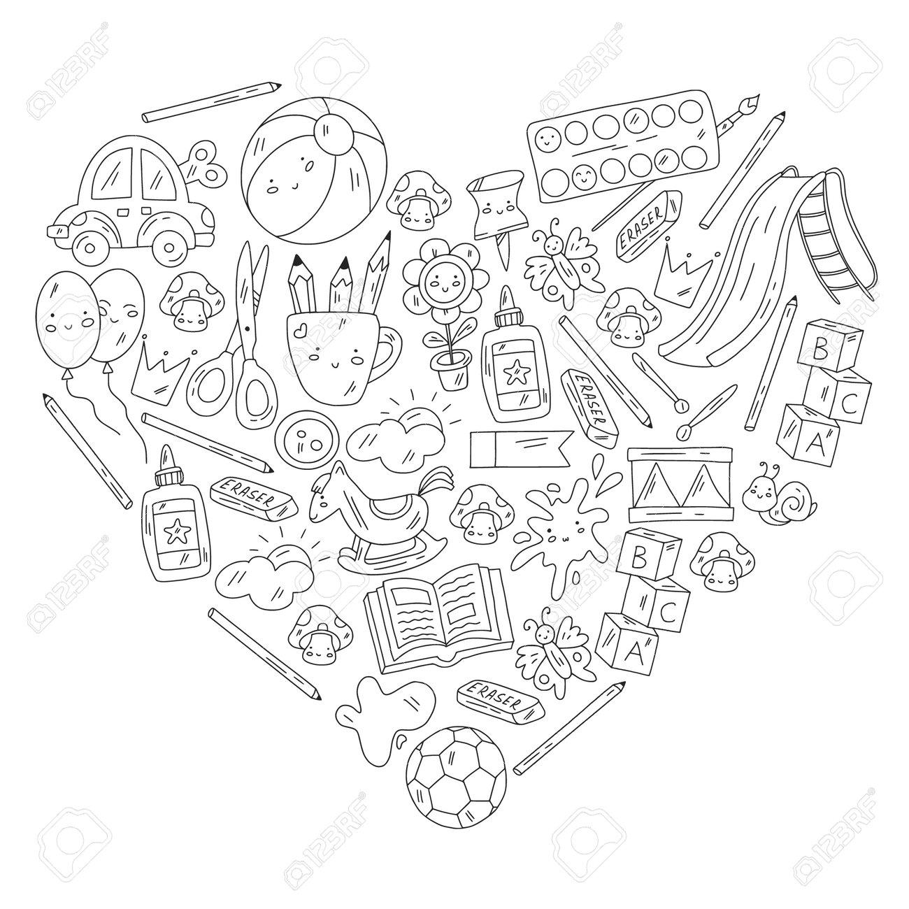Children play with toys in the kindergarten. Kids playground. Education, creativity, imagination. - 173369877