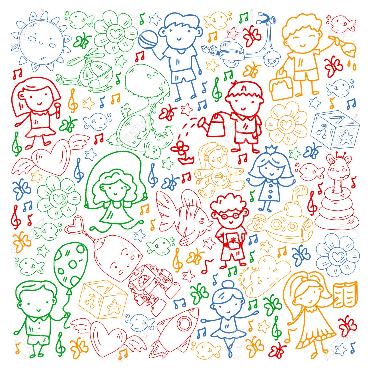 Children play with toys in the kindergarten. Kids playground. Education, creativity, imagination. - 173370400