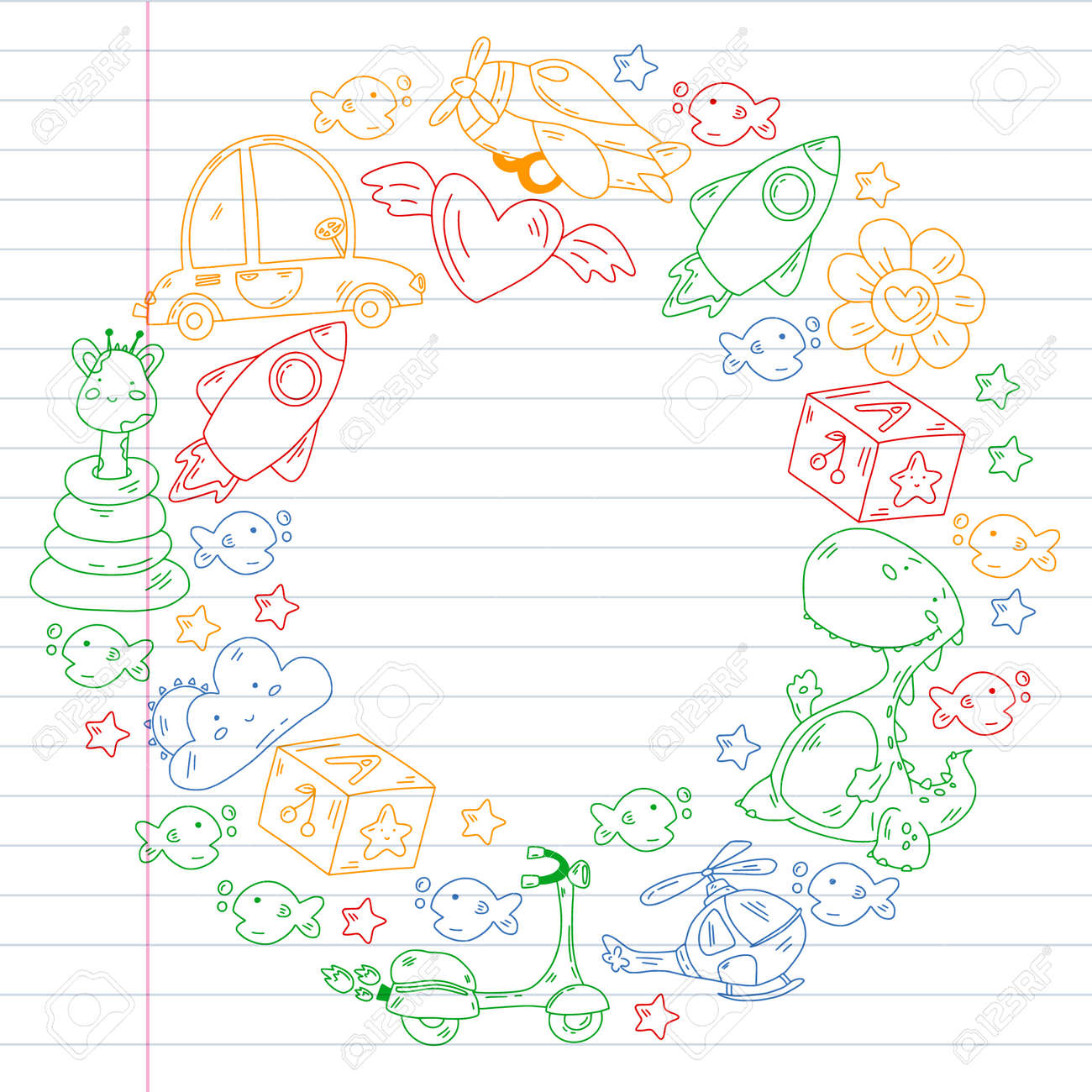 Children play with toys in the kindergarten. Kids playground. Education, creativity, imagination. - 173370427