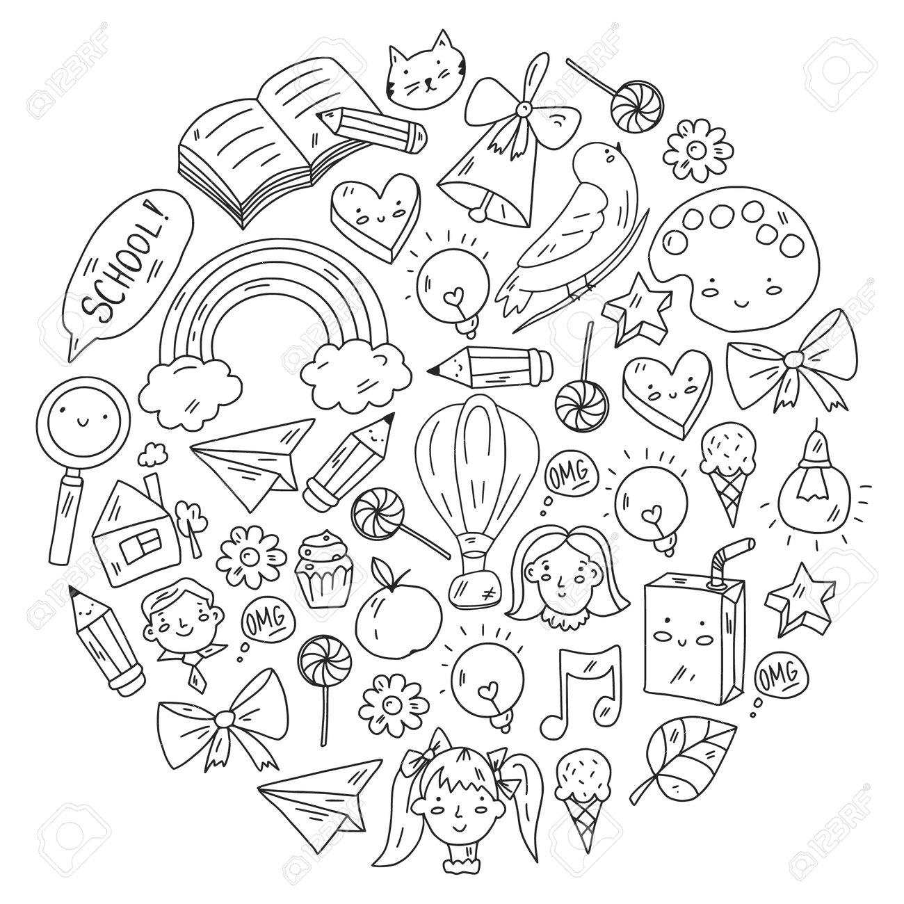 School, kindergarten with cute vector children. Creativity and imagination. Dancing, singing, painting, online education. - 173370723