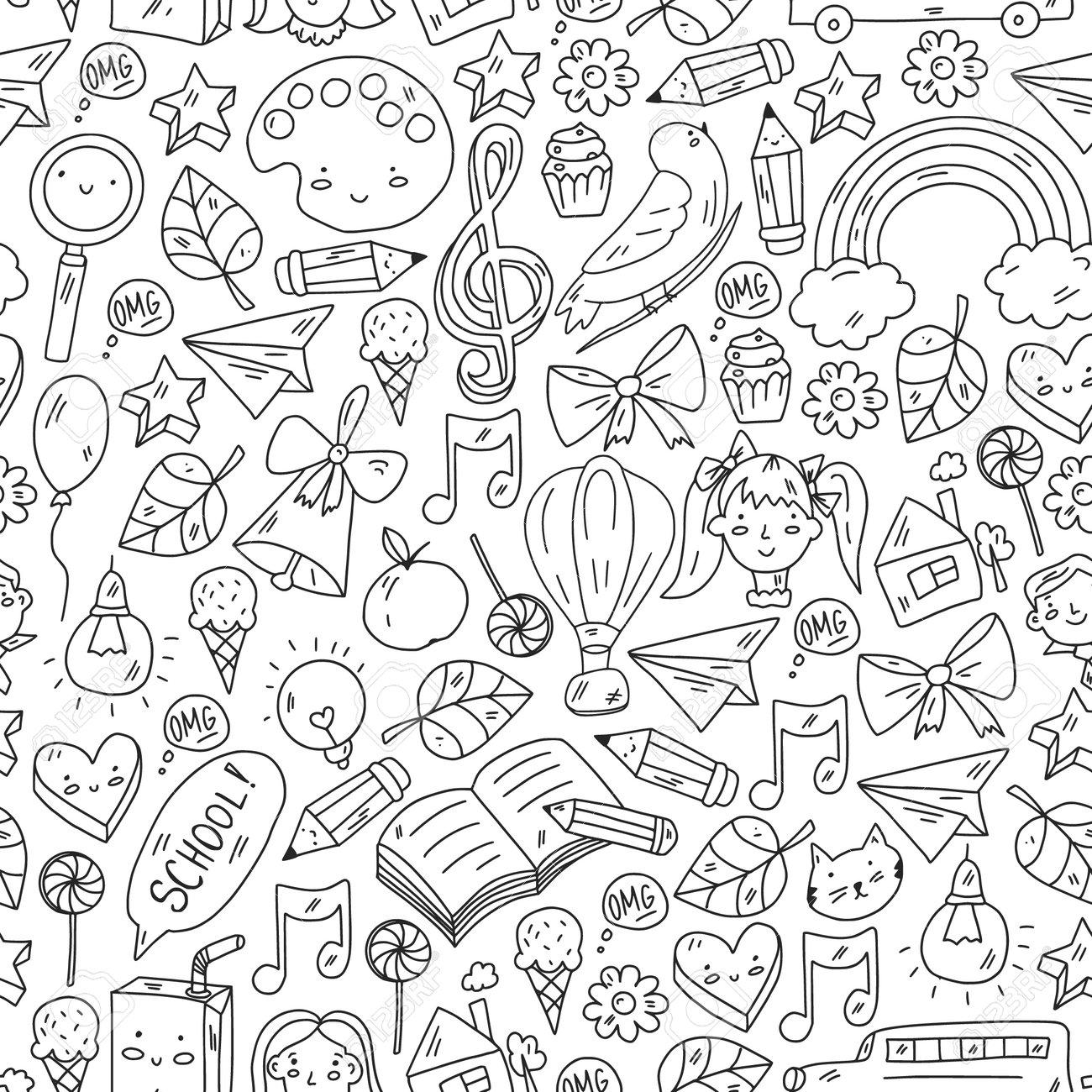 School, kindergarten with cute vector children. Creativity and imagination. Dancing, singing, painting, online education. - 173370226