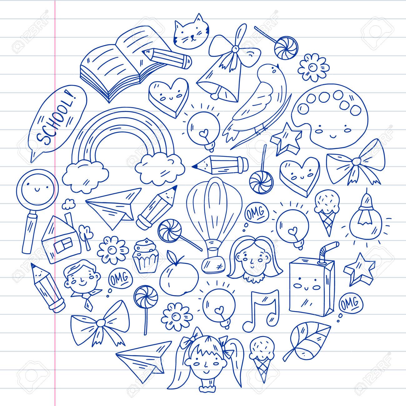 School, kindergarten with cute vector children. Creativity and imagination. Dancing, singing, painting, online education. - 173370336