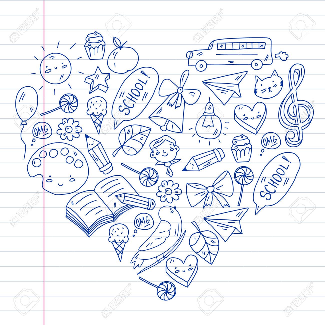 School, kindergarten with cute vector children. Creativity and imagination. Dancing, singing, painting, online education. - 173370772