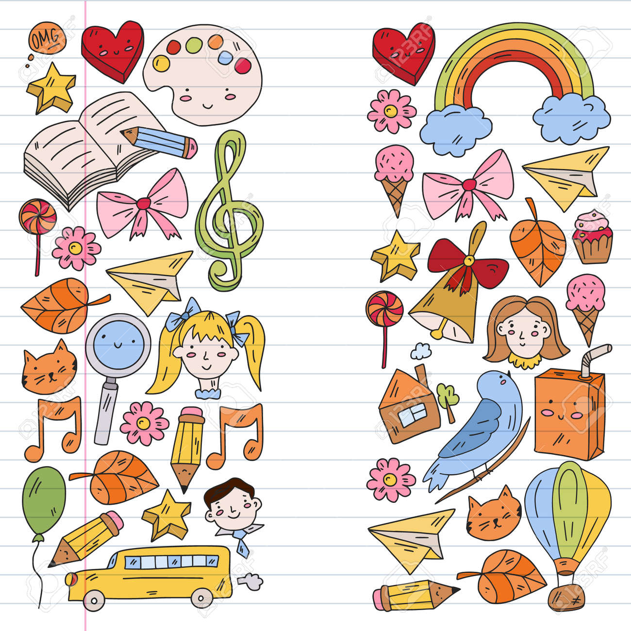 School, kindergarten with cute vector children. Creativity and imagination. Dancing, singing, painting, online education. - 173370383