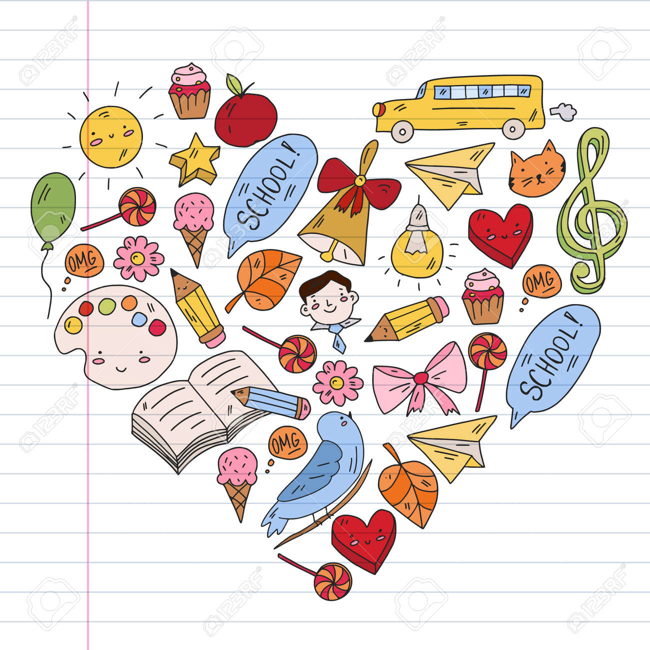 School, kindergarten with cute vector children. Creativity and imagination. Dancing, singing, painting, online education. - 173370203
